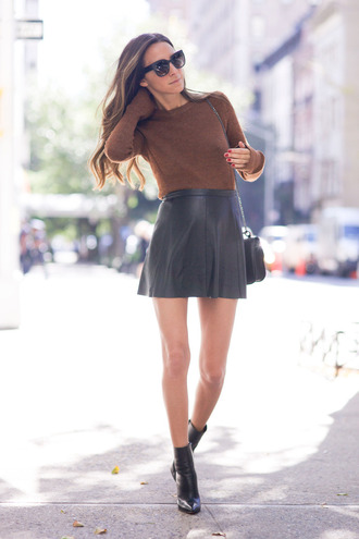 something navy blogger skater skirt leather skirt fall sweater black boots fall outfits