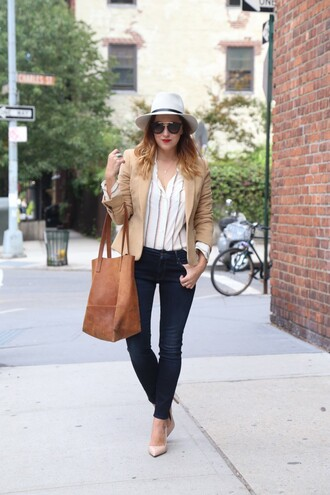 my style pill blogger hat sunglasses jacket shirt jeans shoes bag make-up