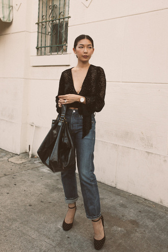 honey n silk blogger top jeans bag shoes pumps black blouse fall outfits winter outfits