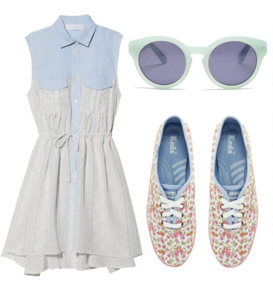 denim dress floral shoes
