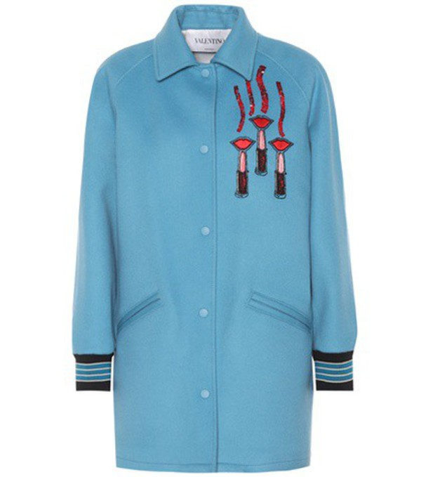 Valentino Wool and cashmere jacket in blue