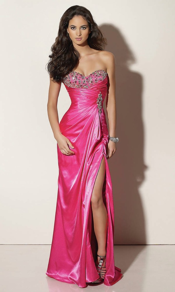 dress pink long dress prom dress bachelor party dress party dress hot pink satan long hot dress cut sleeveless