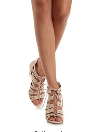 shoes nude wedge shoes strappy sandals gladiator scandals heels charlotte russe