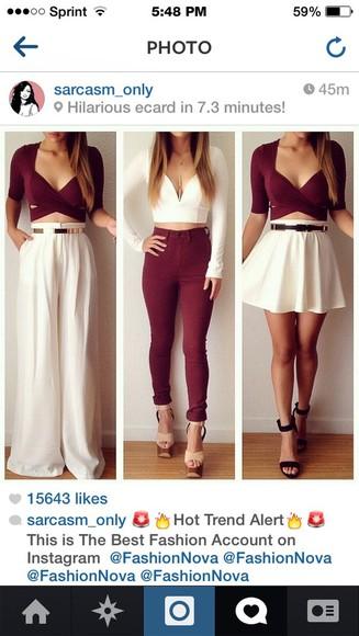 pants blouse crop tops
