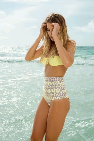 swimwear high waisted bikini cute bikini swimwear colorful yellow bikini beach patterned swimwear