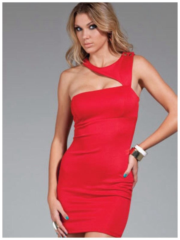 dress one strap red dress bodycon dress