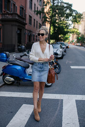 skirt,denim skirt,boots,white blouse,sunglasses,bag,earrings