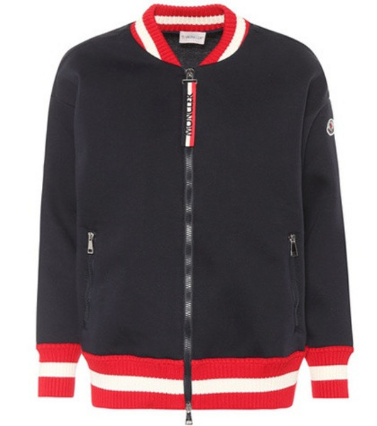 Moncler Jersey bomber jacket in blue
