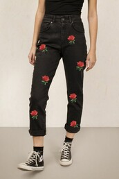 jeans,roses,flowers,black