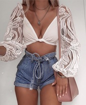 top,white,long sleeves,crop tops,lace,white lace,summer,summer outfits,spring,spring outfits,cut-out,shorts,short,short shorts,denim,denim shorts,jeans,bow,high waisted,High waisted shorts