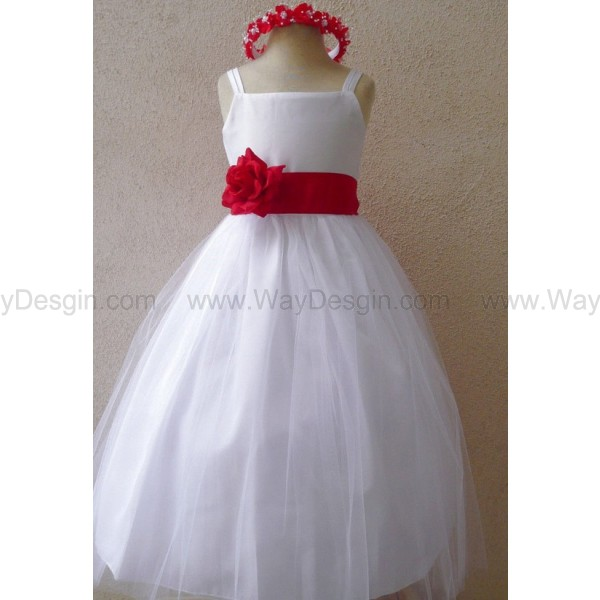 Flower Girl Dress - WHITE Tulle Dress (Double Straps) with Red CHERRY Sash - Easter, Jr. Bridesmaid, Wedding - Baby to Teen
