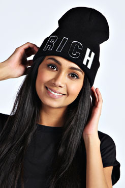 Kirsten RICH Beanie Hat at boohoo.com