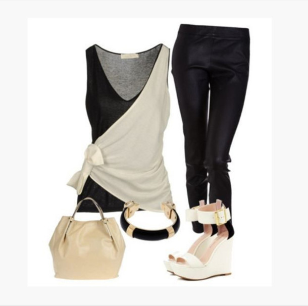 tank top top shirt deep neck top cross over top duo colour top black cream black and cream top gathered side tied side bracelets bag purse shoes heels high heels wedge heels wedges ivory wedges ankle strap wedges pants leggings clothes outfit