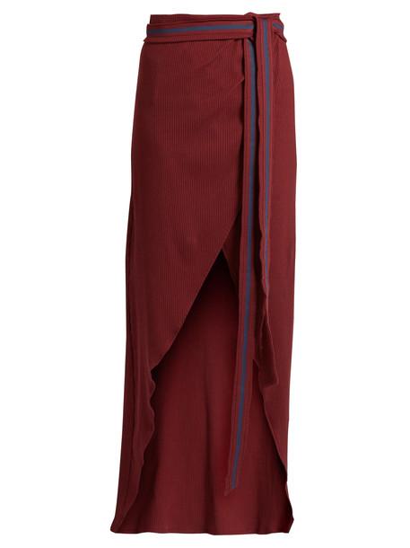 ALBUS LUMEN Porto cotton-blend ribbed-jersey wrap skirt in burgundy