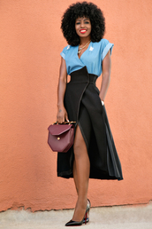 blogger,shoes,denim top,black skirt,slit skirt,red bag,mini bag,burgundy,black heels,louboutin,wrap skirts