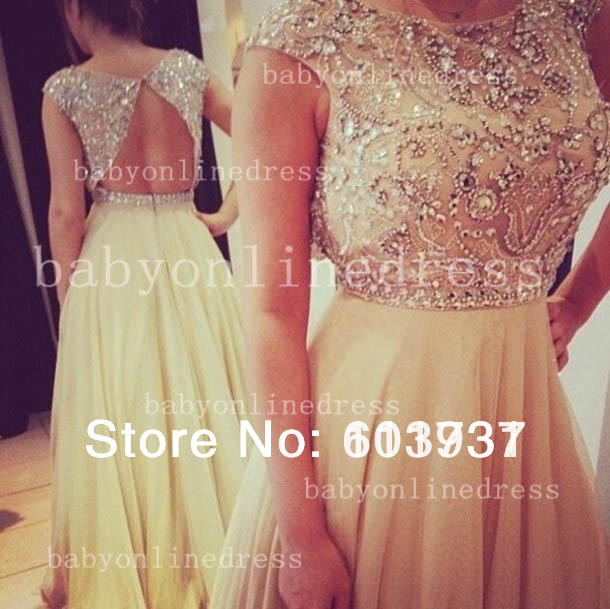 Best selling new scoop beading crystal nude chiffon open back wedding & events dresses evening long