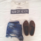 shirt,shoes,t-shirt,white,shorts,cute shorts,cut off shorts,moccasins,tumblr,now or never