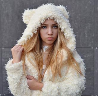 coat fluffy white fur jacket fuzzy coat jumper cool warm