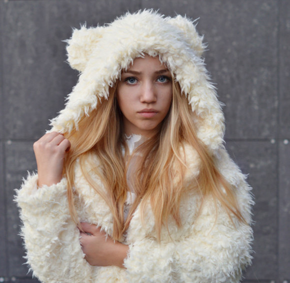 jumper warm winter fluffy jacket ears cool awesome sexy swag. coat bear white fur fuzzy teddy bear
