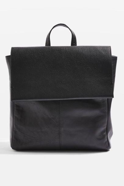 Topshop backpack leather black bag