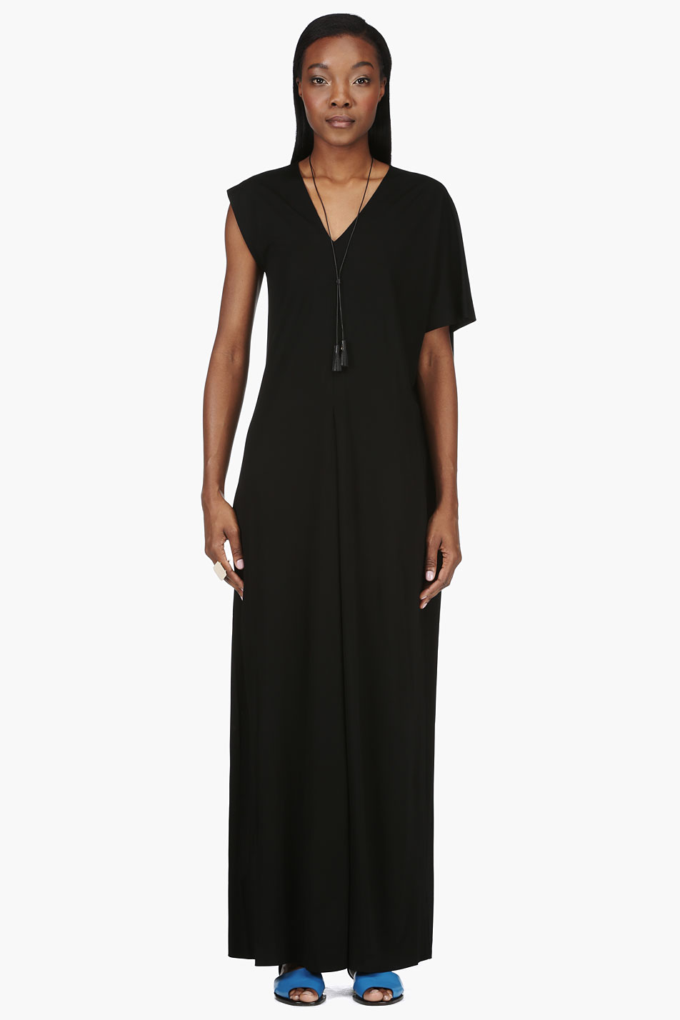 maison martin margiela black asymmetric grecian dress