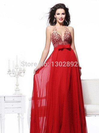 v-neck beading prom dresses aliexpress.com long party dress chiffon dresses out of shoulder red dreses