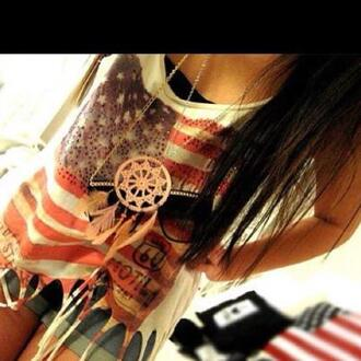 t-shirt clothes american flag red white blue stars crop tops shirt jewels usa short denim necklace hippie vintage dreamcatcher dreamcatcher necklace tank top blouse top flag american flag tank top