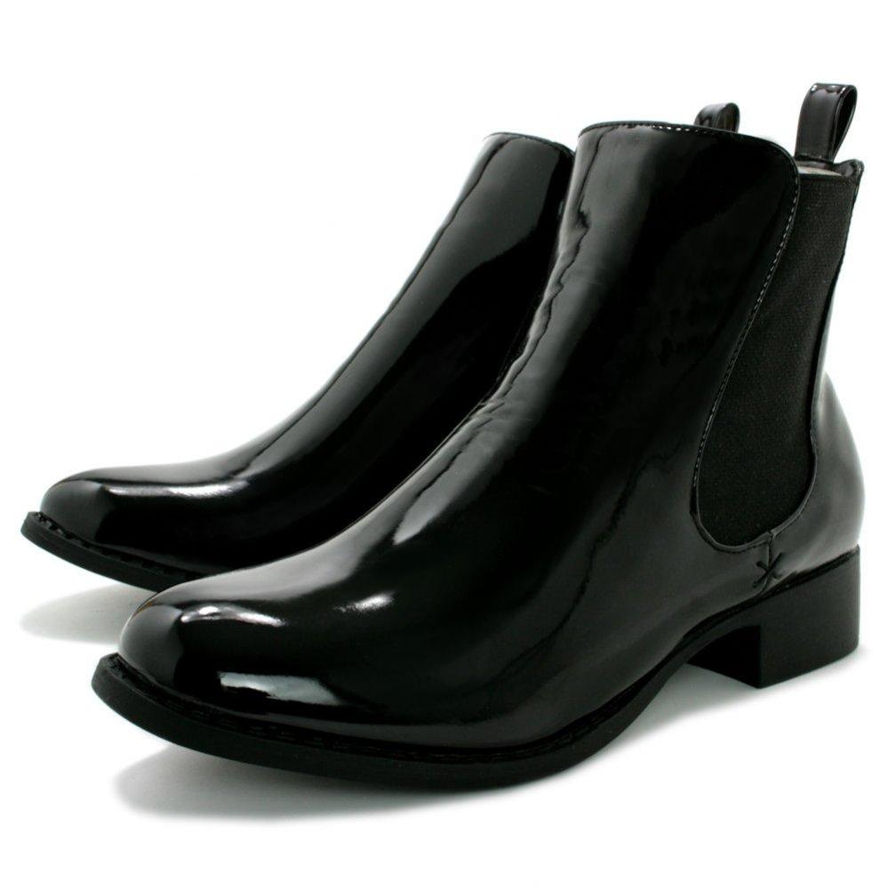 Vesper Block Heel Chelsea Ankle Boots - Black Patent
