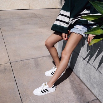 shoes adidas white black and white urban casual distressed denim shorts bell sleeves bag swag