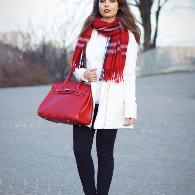 scarf shoes sweater coat bag blogger tartan bag white coat a piece of anna scarf red