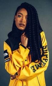 jacket,keke palmer,supreme jacket,north face,yellow,supreme,yellow jacket,windbreaker