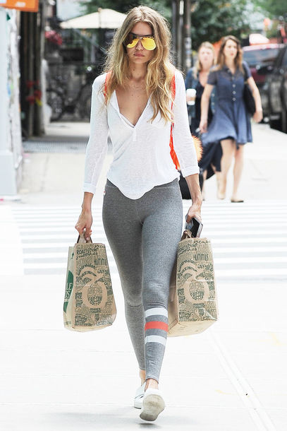 leggings top sneakers gigi hadid sunglasses model off-duty streetstyle blouse yellow sunglasses