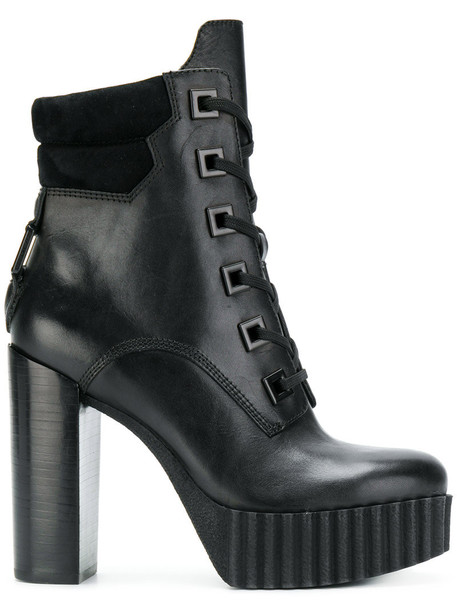 KENDALL+KYLIE women platform boots leather black shoes