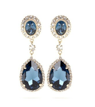 embellished earrings blue jewels