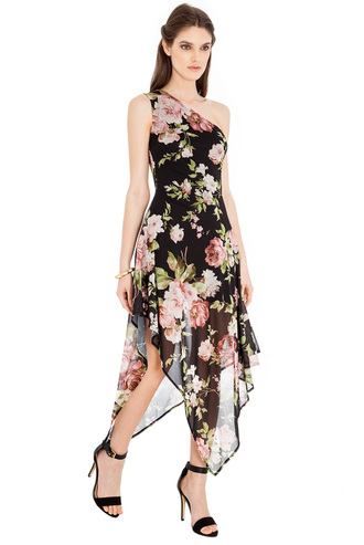 dress goddiva asymmetrical floral one shoulder summer floaty flattering elegant