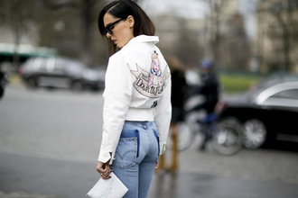 sweater sweatshirt streetstyle fashion week 2016 denim jacket alice in wonderland quote on it white jacket embellished jacket embellished denim