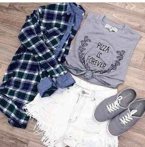 shirt grey blouse pizza shorts t-shirt style