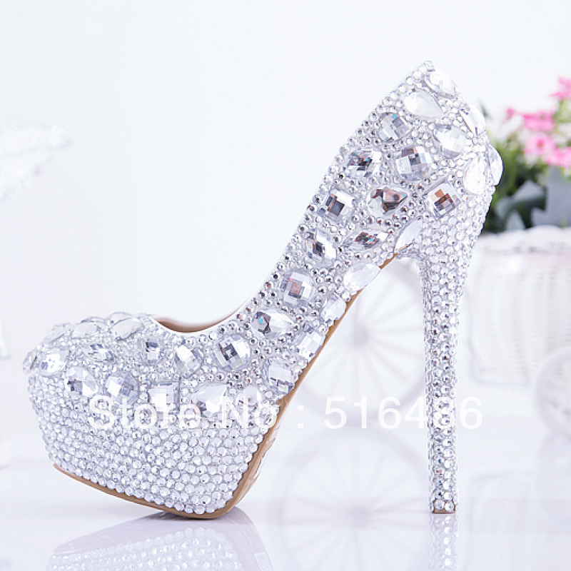 Fashion rhinestone crystal wedding shoes ultra high heels platform pumps sparking women's bridal party banquet shoes handmade-inPumps from Shoes on Aliexpress.com