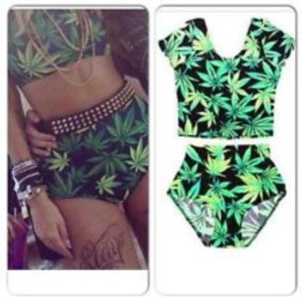 shorts weed crop top weed leaf hot pants weed short shorts