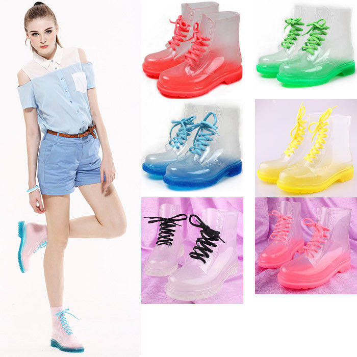 New fashion transparent crystal ms candy colors flat for rain boots martin boots