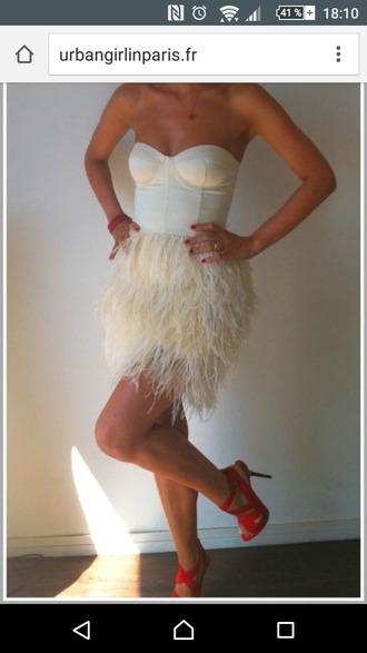 dress feather dress white dress asos corset dress
