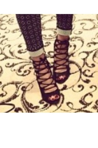 shoes cross lace up heels black