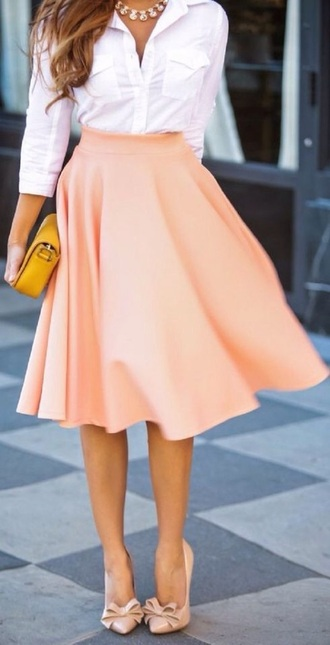 shoes white blouse peach skater skirt bow shoes