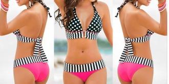 swimwear pink stripes summer bikini polka dots beach