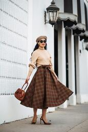 hallie daily,blogger,dress,jacket,coat,top,beret,midi skirt,fall colors,fall outfits