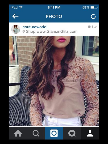 top brown lace long sleeves