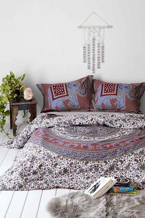 Magical Thinking Grey Elephant Stamp Duvet Cover - Urban Outfitters