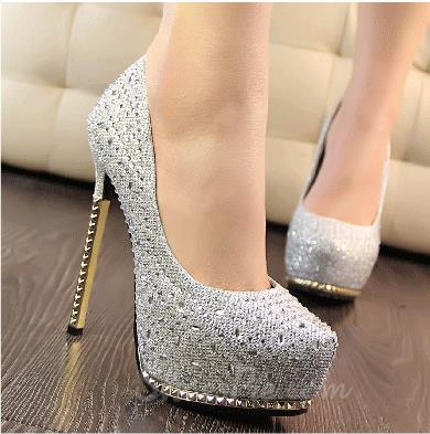 2014 New Arrival Luxurious Rhinestone Metal Heel High Heel Shoes
