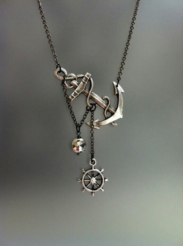 jewels anchor nautical necklace sailor beach