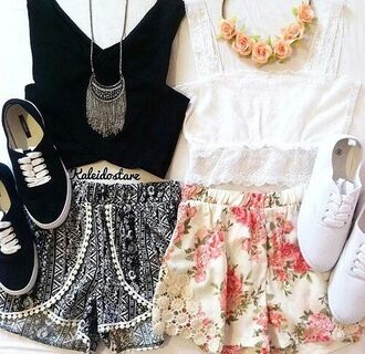 shorts black and white shorts black and white boho chic hippie bohemian classic basic